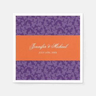 Mariage pourpre orange de remous de damassé serviettes jetables