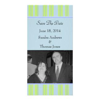 mariage rayé bleu de vert jaune cartes de vœux avec photo