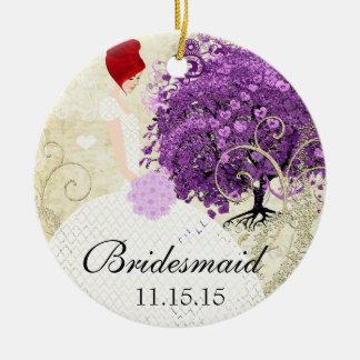 Mariage rayonnant d'arbre de feuille de Purple Ornement Rond En Céramique
