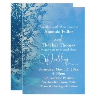 Mariage rêveur éthéré de ciel de saule pleurant carton d'invitation  12,7 cm x 17,78 cm