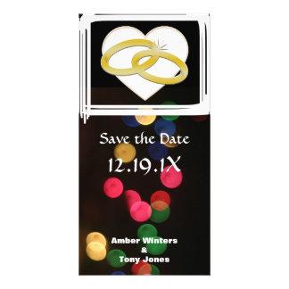 Mariage romantique de coeur d anneaux de mariage d cartes avec photo