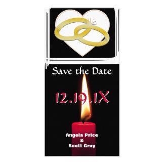 Mariage romantique de coeur d'anneaux de mariage d cartes de vœux avec photo