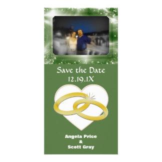 Mariage romantique de coeur d'anneaux de mariage d cartes avec photo