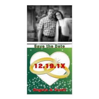 Mariage romantique de coeur d'anneaux de mariage d photocartes personnalisées