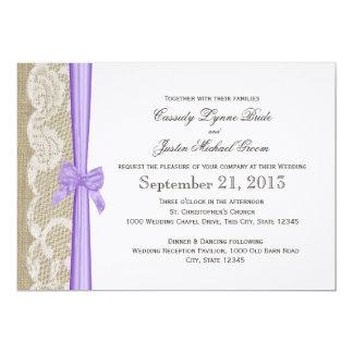 Mariage romantique de dentelle et d'arc carton d'invitation  12,7 cm x 17,78 cm