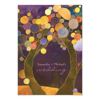Mariage romantique pourpre d'arbres d'amour de carton d'invitation  12,7 cm x 17,78 cm