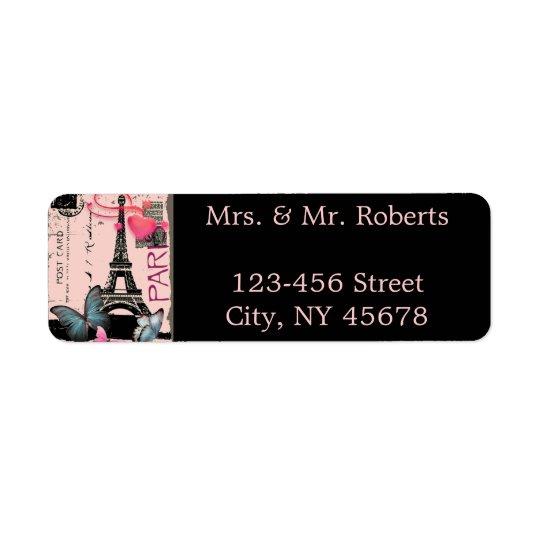 mariage rose de destination de Tour Eiffel de Étiquettes D'adresse Retour