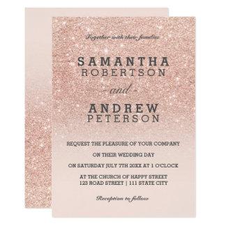 Mariage rose d'ombre de rose de scintillement de carton d'invitation  12,7 cm x 17,78 cm
