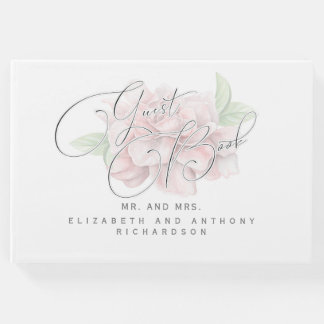Mariage rose doux élégant de typographie de fleur livre d'or