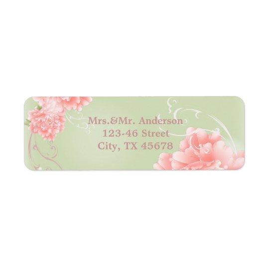 Mariage rose en bon état botanique de pivoine de étiquette d'adresse retour