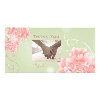 Mariage rose en bon état botanique de pivoine de photocartes personnalisées