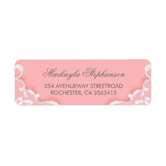 Mariage rose et blanc de dentelle étiquettes d'adresse retour