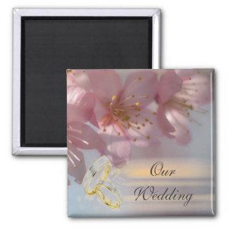 Mariage rose floral magnet carré