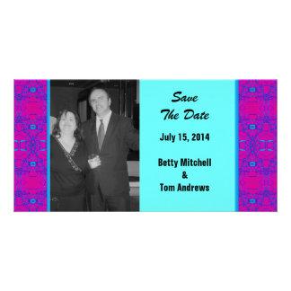 Mariage rose lumineux de motif de turquoise photocarte personnalisée