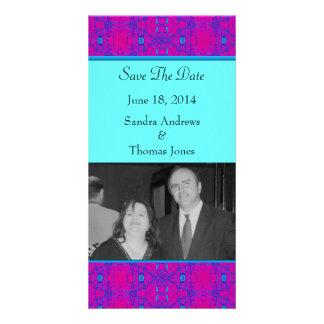 Mariage rose lumineux de motif de turquoise cartes avec photo