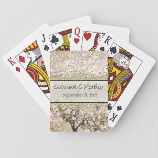 Mariage rose romantique d'arbre de feuille de jeux de cartes