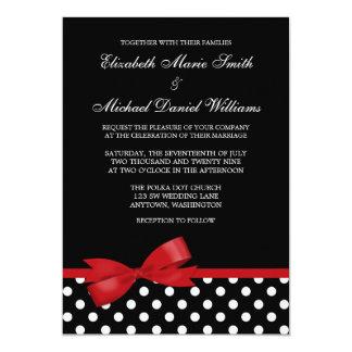 Mariage rouge blanc noir d'arc de point de polka carton d'invitation  12,7 cm x 17,78 cm