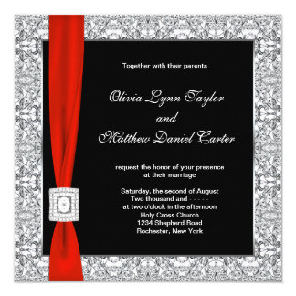 Mariage rouge blanc noir d'arc carton d'invitation  13,33 cm