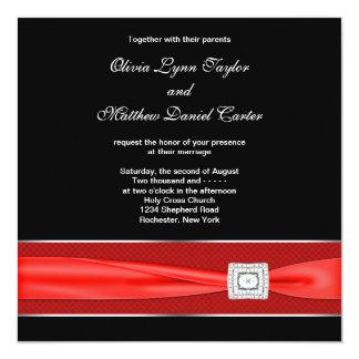 Mariage rouge blanc noir de noir d'arc faire-part personnalisés