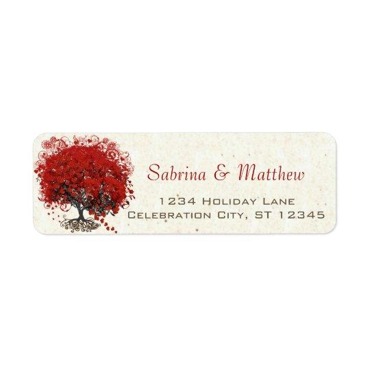 Mariage rouge d'arbre de feuille de coeur étiquette d'adresse retour