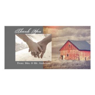 Mariage rouge de grange de ferme rustique de pays cartes de vœux avec photo