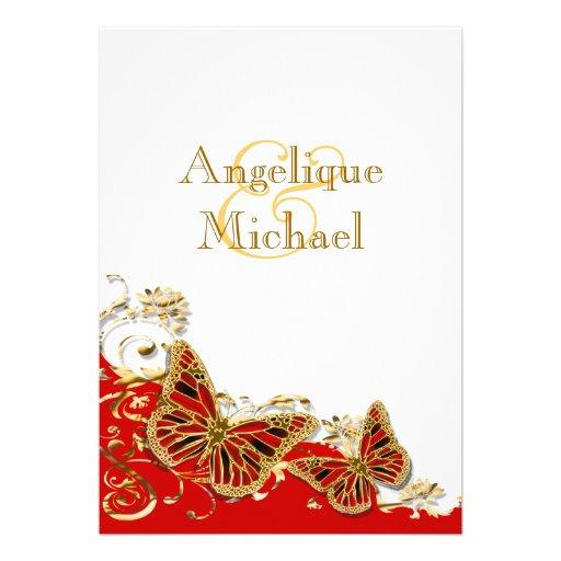 Mariage rouge de papillon d'or blanc invitations personnalisables