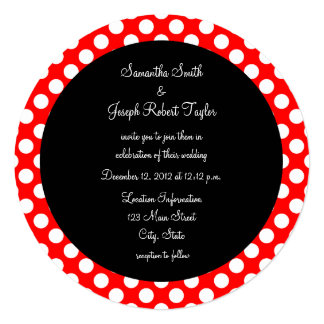 Mariage rouge et blanc de cercle de noir de point carton d'invitation  13,33 cm