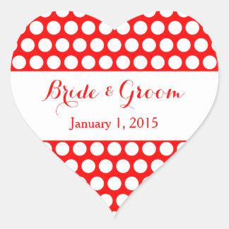 Mariage rouge et blanc de point de polka sticker cœur