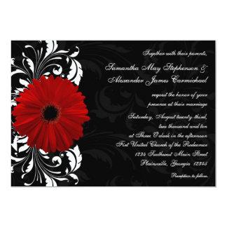 Mariage rouge et noir et blanc de marguerite de carton d'invitation  12,7 cm x 17,78 cm