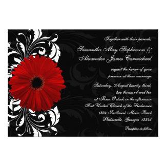 Mariage rouge et noir et blanc de marguerite de Ge Cartons D'invitation