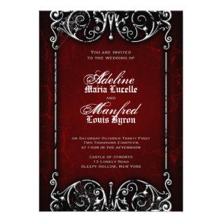 Mariage rouge, noir et blanc éffrayant victorien g cartons d'invitation personnalisés