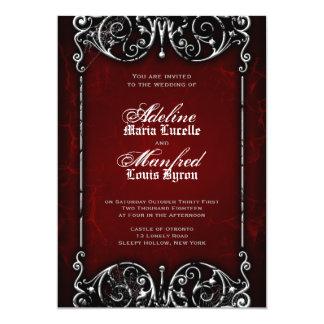 Mariage rouge, noir et blanc éffrayant victorien cartons d'invitation personnalisés