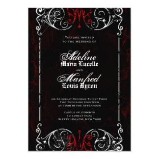 Mariage rouge, noir et blanc éffrayant victorien faire-part personnalisé