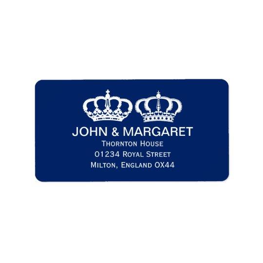 Mariage royal bleu de couples étiquette d'adresse