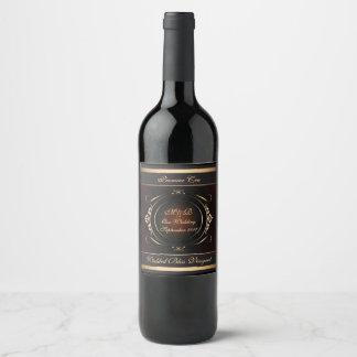 Mariage royal de Flourish de Bourgogne et d'or Étiquette Pour Bouteilles De Vin