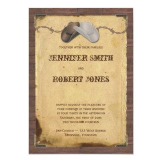 Mariage rustique de barbelé de chapeaux de cowboy carton d'invitation  12,7 cm x 17,78 cm