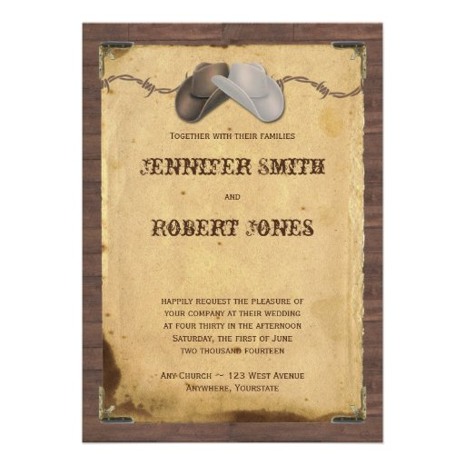Mariage rustique de barbelé de chapeaux de cowboy  invitations personnalisées