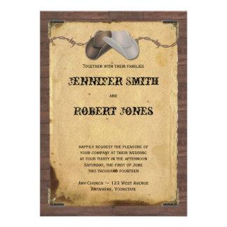 Mariage rustique de barbelé de chapeaux de cowboy carton d'invitation