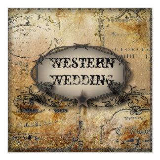 mariage rustique de barbelé de pays occidental carton d'invitation  13,33 cm