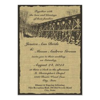 Mariage rustique de chevalet de train carton d'invitation