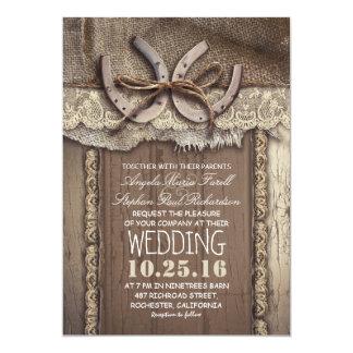 Mariage rustique de dentelle de fers à cheval et carton d'invitation  12,7 cm x 17,78 cm