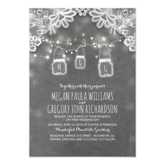 Mariage rustique de dentelle élégante de pots de carton d'invitation  12,7 cm x 17,78 cm