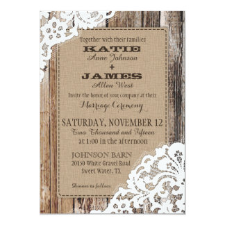 Mariage rustique de dentelle en bois occidentale carton d'invitation  12,7 cm x 17,78 cm