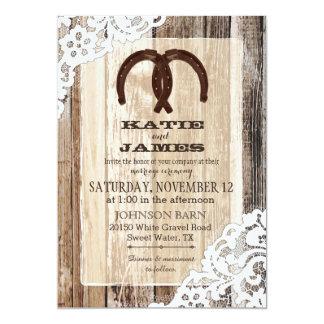 Mariage rustique de dentelle en fer à cheval en carton d'invitation  12,7 cm x 17,78 cm