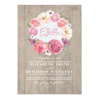 Mariage rustique de guirlande botanique florale carton d'invitation  12,7 cm x 17,78 cm