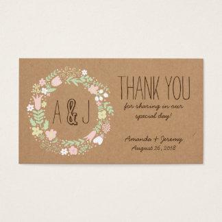 Mariage rustique de guirlande florale en pastel de cartes de visite