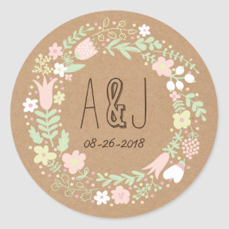 Mariage rustique de guirlande florale en pastel de sticker rond