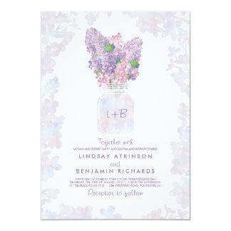Mariage rustique de maçon d'aquarelle florale carton d'invitation  12,7 cm x 17,78 cm