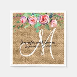 Mariage rustique de monogramme de toile de jute serviette en papier