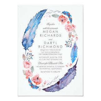Mariage rustique de plumes florales de Bohème Carton D'invitation 12,7 Cm X 17,78 Cm